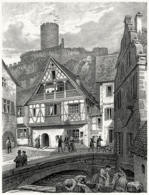 View of Kaysersberg.  Th. Müller from Strasbourg illustré (Strasbourg illustrated), by Frédéric Piton, Strasbourg, Leipzig, Paris, Basel, 1855.  (Source: archive.org)