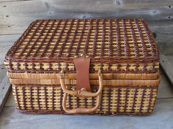 Wicker Picnic Basket / Wicker Suitcase  / Blue Gingham /