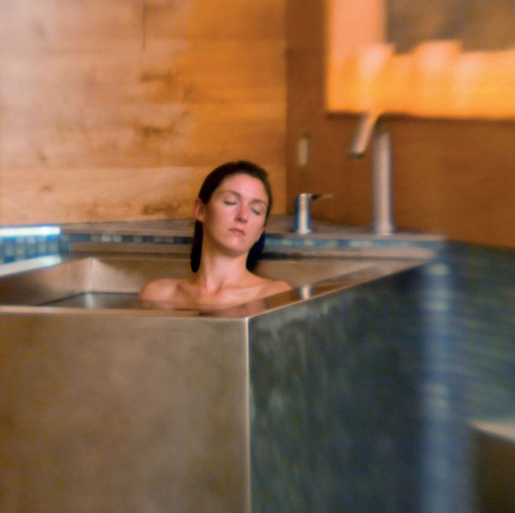 Soaking at the Vail Lodge in a stainless steel hot tub