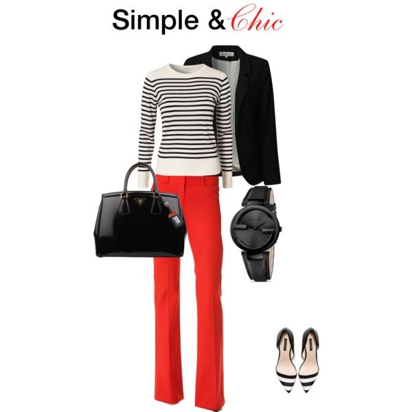 Orange Pants, b/w striped top and shoes