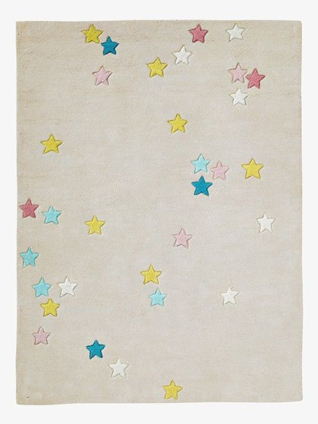 Colourful Stars Rug - GREY LIGHT SOLID WITH DESIGN - 1