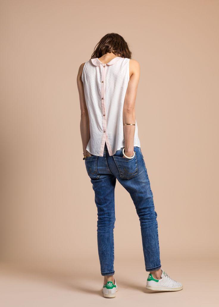 Collection PE 17 | La petite étoile Pull chemise d detail dans le dos  col claudine  casual wear  casual chic