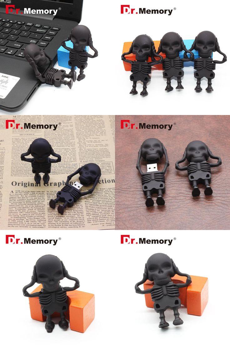 [Visit to Buy] Dr.memory USB Flash Drive Skeleton Pen Drive 16g/8g/4g skull model Memory 64gb Stick 32gb pendrive usb2.0 u disk Halloween gift #Advertisement