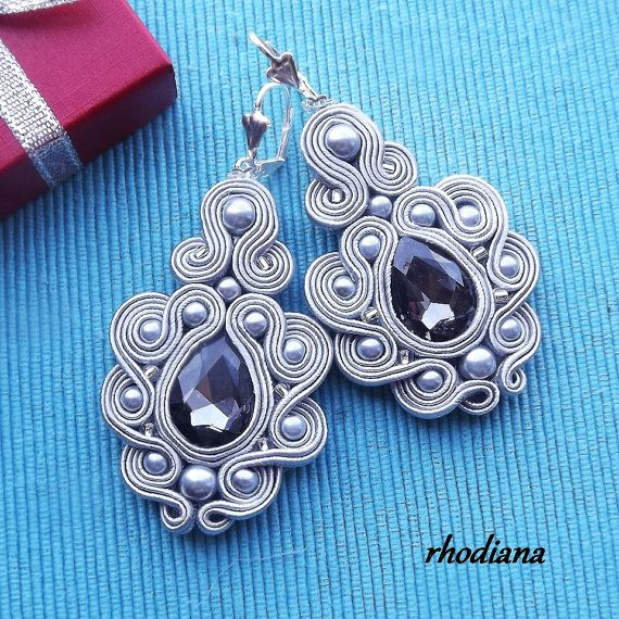Mega Grey with Crystall Soutache Earrings от RhodianaSoutache