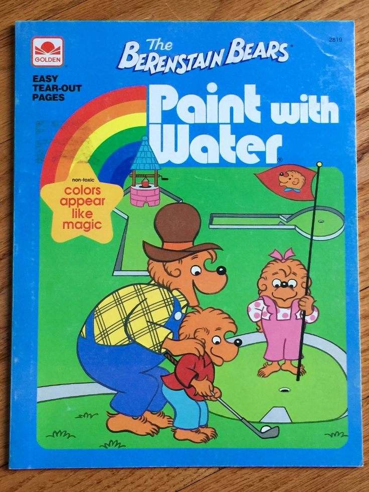 vintage berenstain bears paint with water book 1992 nos childrens golden color activity book