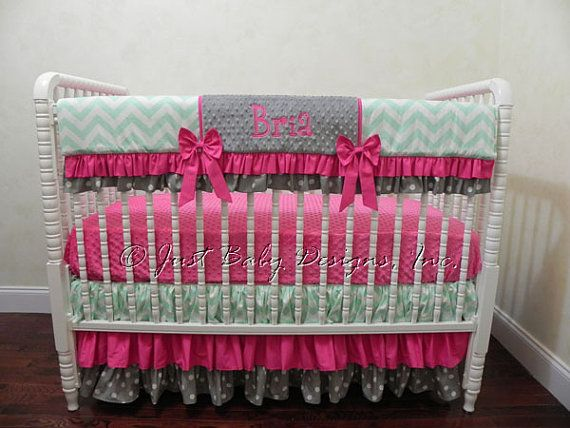 Bumperless Baby Bedding Set Bria - Girl Baby Bedding, Mint Crib Bedding, Hot Pink Baby Bedding, Rail Cover, Ruffled Skirt