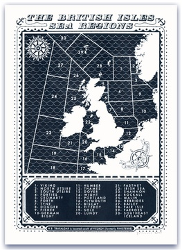 Viking print by illustrator James Brown, highlighting The British Isles Sea Regions.  Open Edition, signed and numbered. www.alboa.co.uk