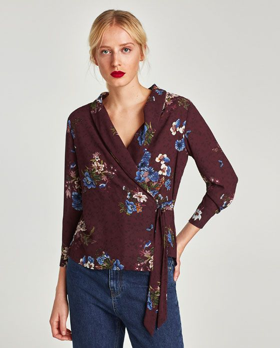 Image 2 of FLORAL PRINT WRAP BLOUSE from Zara
