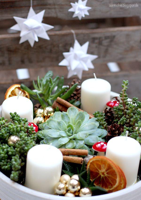 DIY Anleitung: Adventskranz Mit Pflanzen // Christmas Diy: Succulent Advent  Wreath Via DaWanda