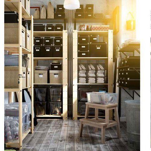 Wooden display shelves ikea google search craft for Basement storage ideas ikea
