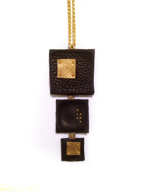 Geometric leather pendant Stylish black and gold Necklace Leather jewelry - trending