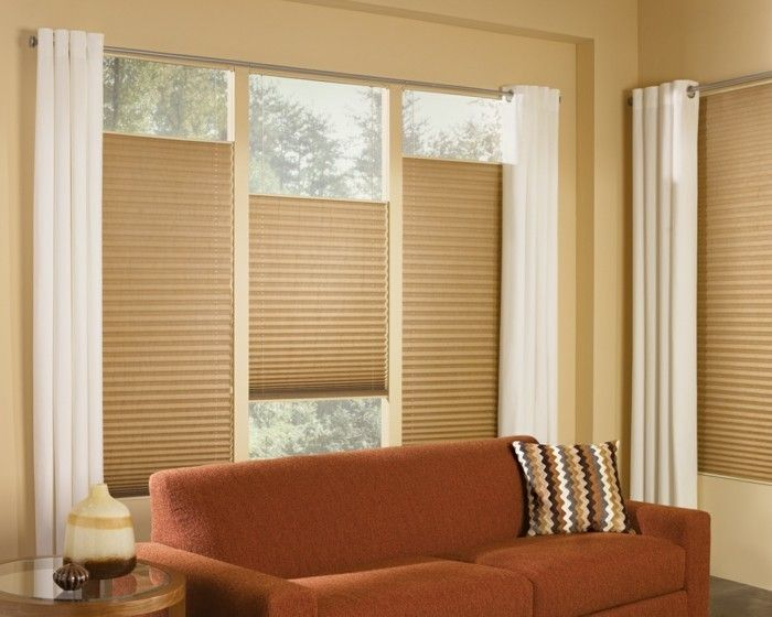 plissees wohnzimmer gestalten braunes design schönes - wohnzimmer dekoration braun