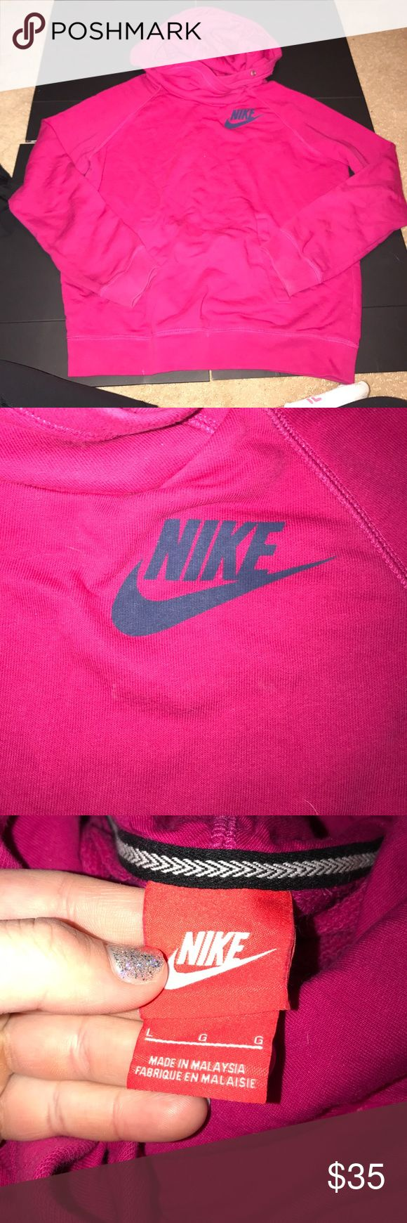 Nike cowl neck hoodie ECU no material issues! Size large! Pink color cowl neck very comfy! Nike Jackets & Coats