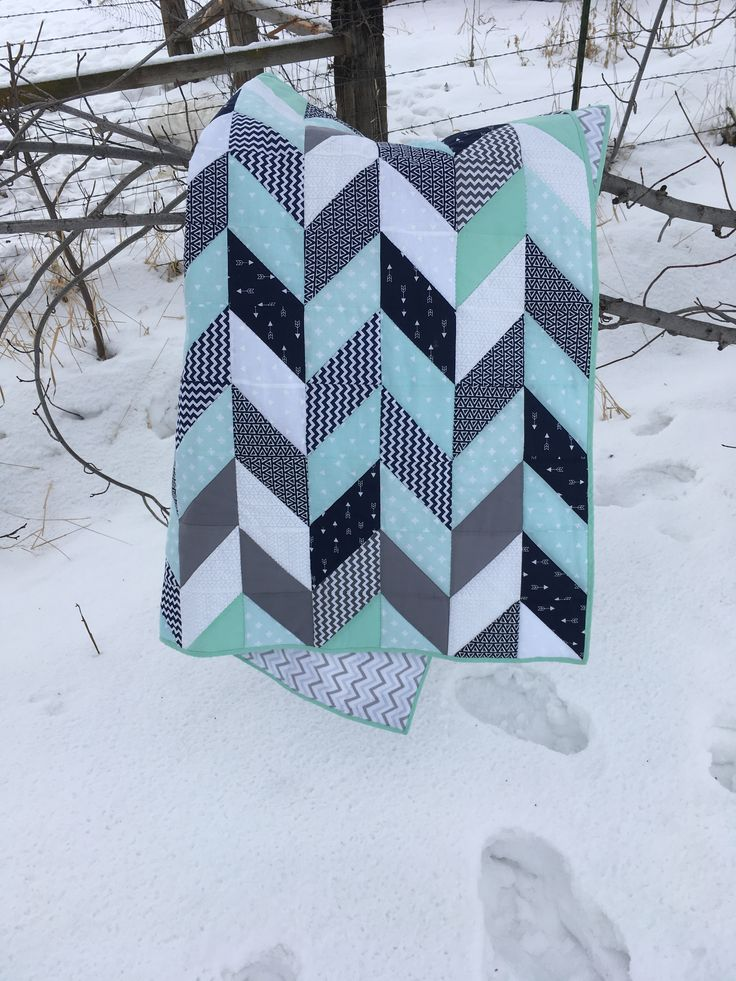 Navy mint and grey herringbone quilt baby boy nursery for Billy and Megan's baby