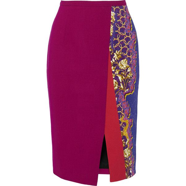Peter Pilotto Ria printed stretch-cady pencil skirt ($520) ❤ liked on Polyvore featuring skirts, purple, stretchy pencil skirt, button skirt, multi colored skirt, stretch skirt and peter pilotto