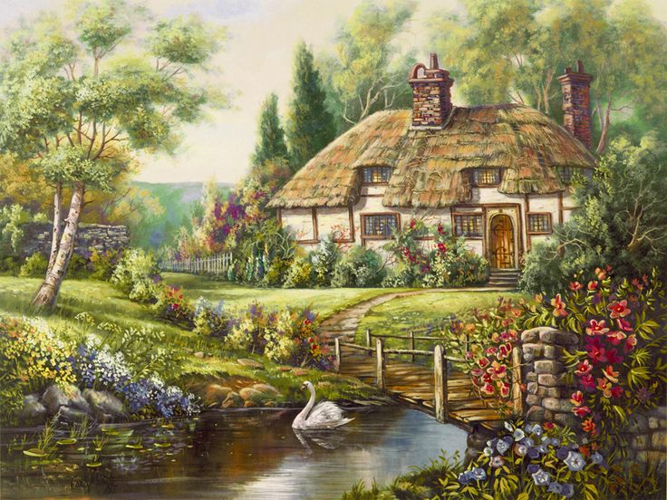 Oxfordshire Retreat by Carl Valente ~ English country cottage on stream ~ floral gardens ~ swan