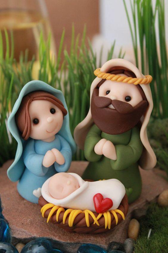 Miniature Nativity Set Polymer Clay Nativity by GnomeWoods