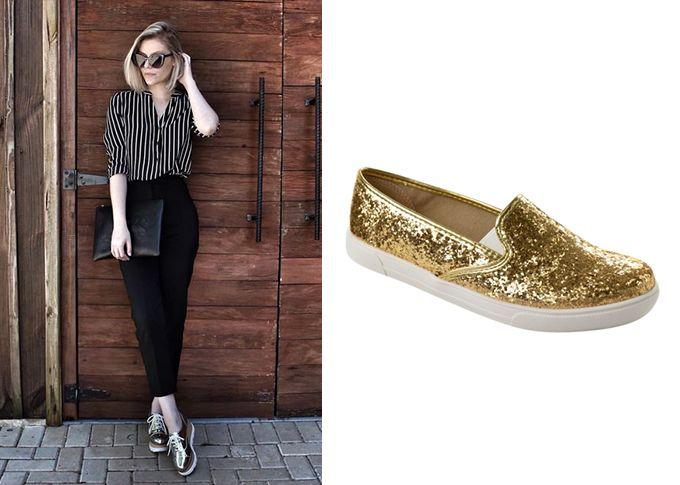 Slip On feminino de glitter Moleca Dourado