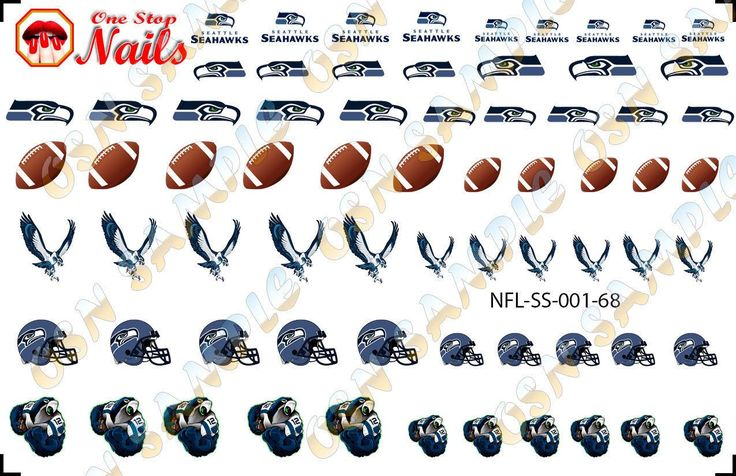 68pcs Seattle Seahawks Nail Art Decals Stickers Transfers NFL-SS-001-68