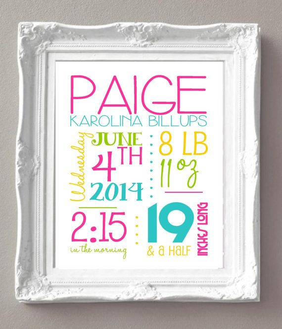 """Custom Birth Announcement Sign - 8x10"""" - Girl - Pink, Aqua, Yellow and Green - Baby's Name, Date of Birth, Weight, Length and Time of Birth"""