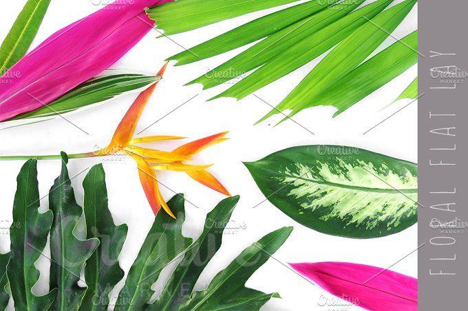 Flat lay flower composition by Trefilova Anna on @creativemarket