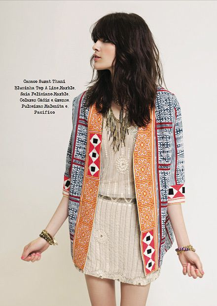 Bohemian jacket, pretty chic dress and edgy waterfall collar. Global inspired for fall. Rapsodia Colombia - Lookbook.