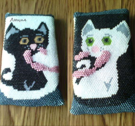 Case for Mobile Phone bead Two cats by Luciya1010 on Etsy