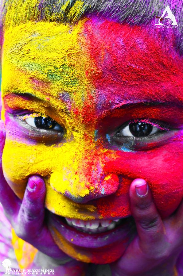 """""""Happy Holi """" by Arup Mazumder.  India's Festival of colors."""