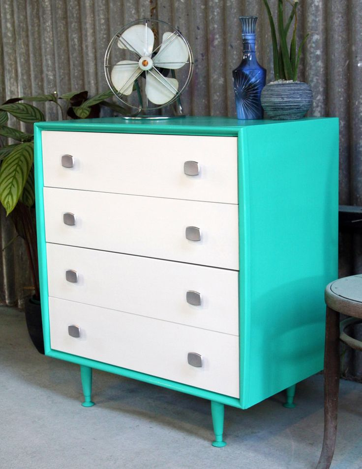 Best Mid Century Alrob Chest Of Drawers In Turquoise Green With 400 x 300