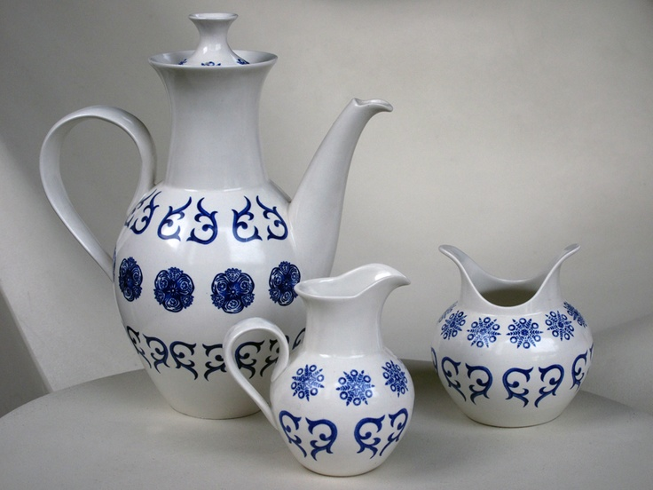 Schmid Eva Zeisel Ironstone After Dinner Coffee Set.