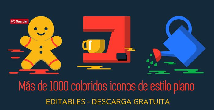 Más de 1000 coloridos iconos planos, editables y para descarga gratuita #iconos