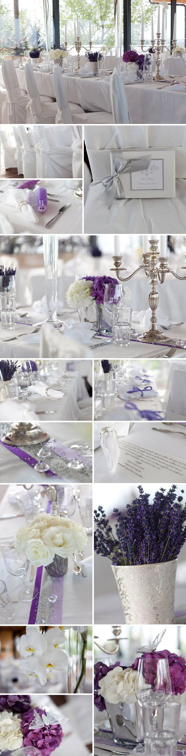 Jo: Dezente lila Deko, glaub das find ich am schönsten, auch mit lavendel und so :)