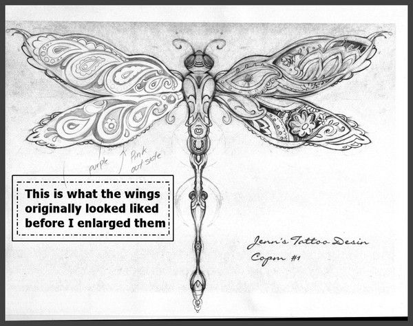 Dragonfly Paisley Tattoo Design by Christopher Eisert | ArtWanted.com