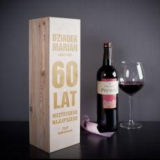 Skrzynka personalizowana na wino SZEŚĆDZIESIĄTKA idealny na urodziny