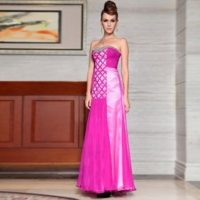 A line Strapless Empire Beaded Pink Chiffon Evening Dress
