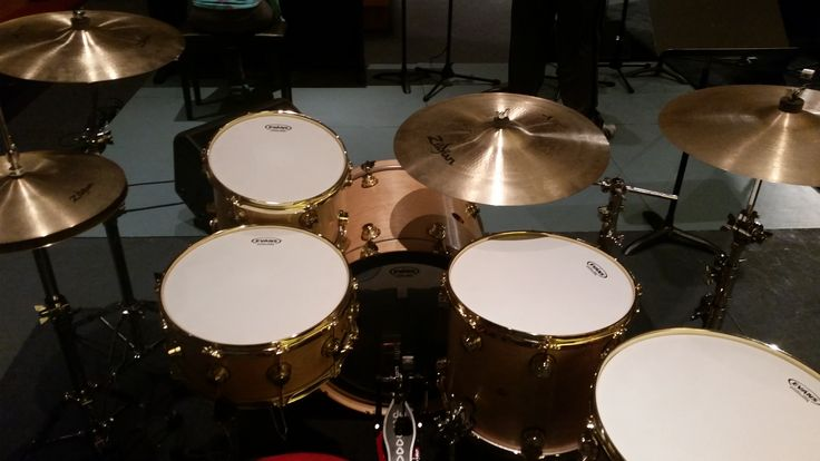 My DW drums with DW hardware, Zildjian cymbals, and Evans drum heads.