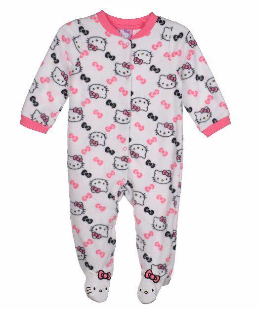 Amazon.com: Hello Kitty Baby Baby-Girls Newborn White Microfiber Sleep and Play: Clothing