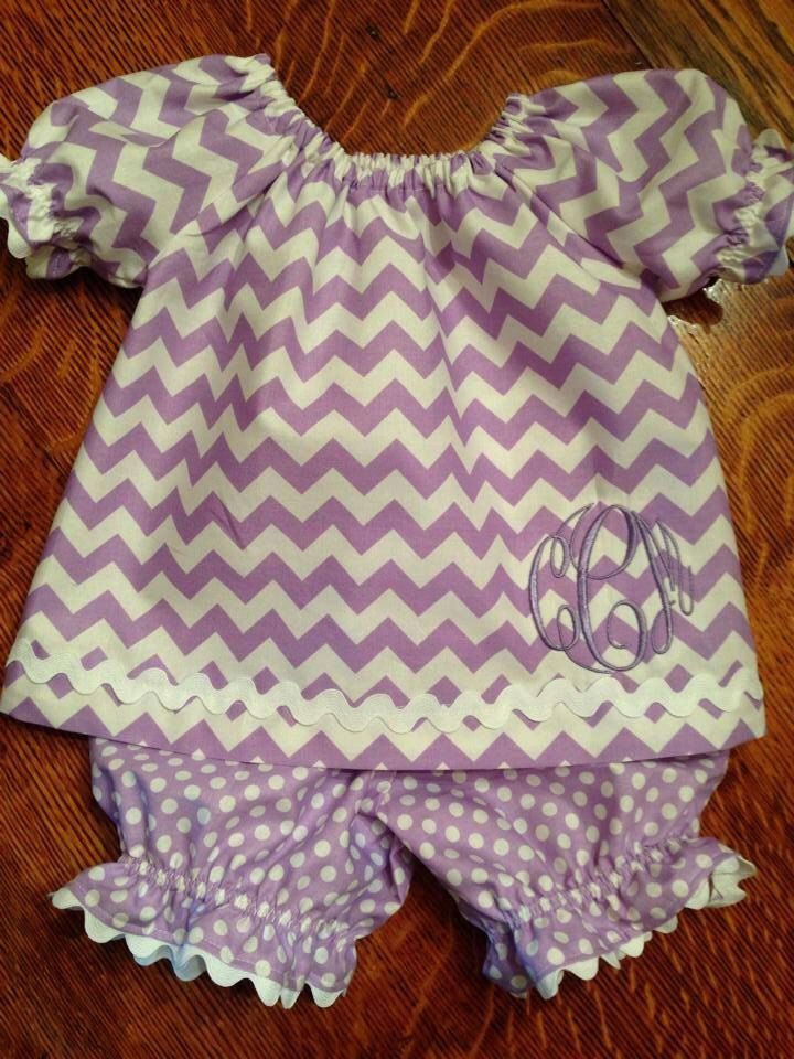 Baby Chloe peasant top and bloomers in  Chevron with monogram and rick rack trim by SewMuchFun504 on Etsy https://www.etsy.com/listing/160919159/baby-chloe-peasant-top-and-bloomers-in