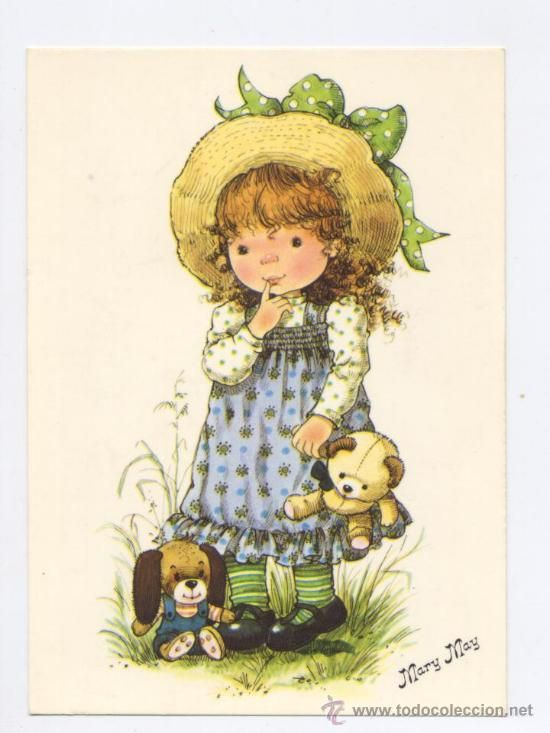 POSTAL *MARY MAY* - NIÑA CON EL PELUCHE
