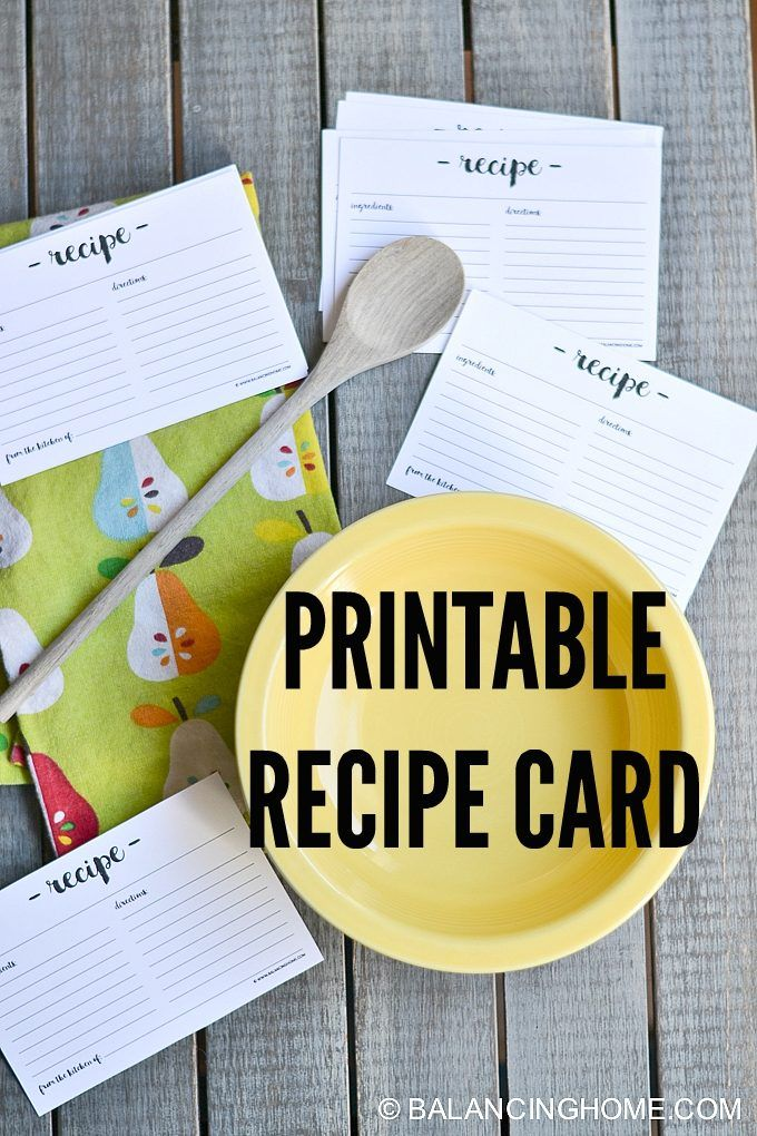Simple but chic printable recipe card with hand lettering font