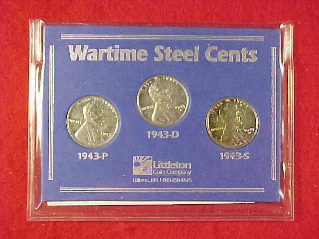 WARTIME SET OF 3 LINCOLN WHEAT PENNY STEELIES   COINS