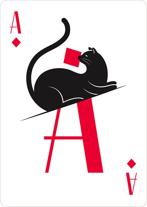 Cat Playing Cards playful illustrations by lettering artist Jessica Hische.