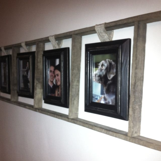 My newest! Old ladder, picture frames, and burlap ribbon. So easy and it looks…