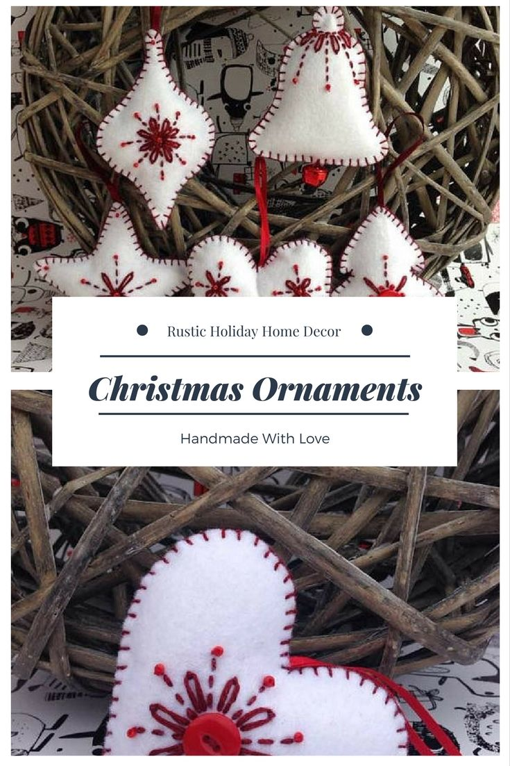 Lovely handmade felt Christmas decoration in white and red, ready to be hung on your Christmas tree or as a decoration anywhere in the room. #christmasornament #Christmasdecorations #ad