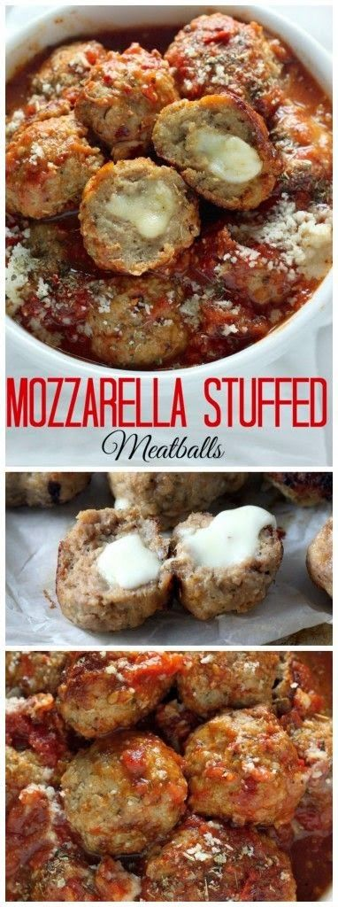Mozzarella Stuffed Turkey Meatballs with Homemade Marinara Sauce