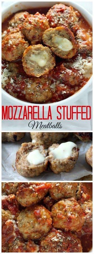 Mozzarella Stuffed Turkey Meatballs with Homemade Marinara Sauce