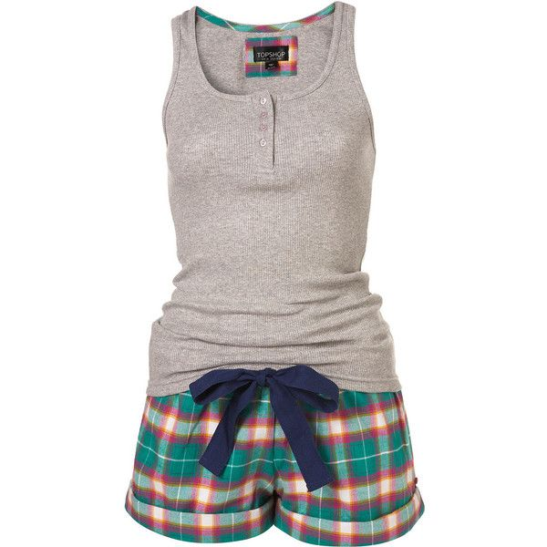Pink Check Vest and Short Set ($40) found on Polyvore