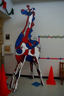 Dubuffet Mega Animals. The forms are  cut from foam core and painted by students. Various animal and bird forms could be cut to create a Dubuffet Zoo!