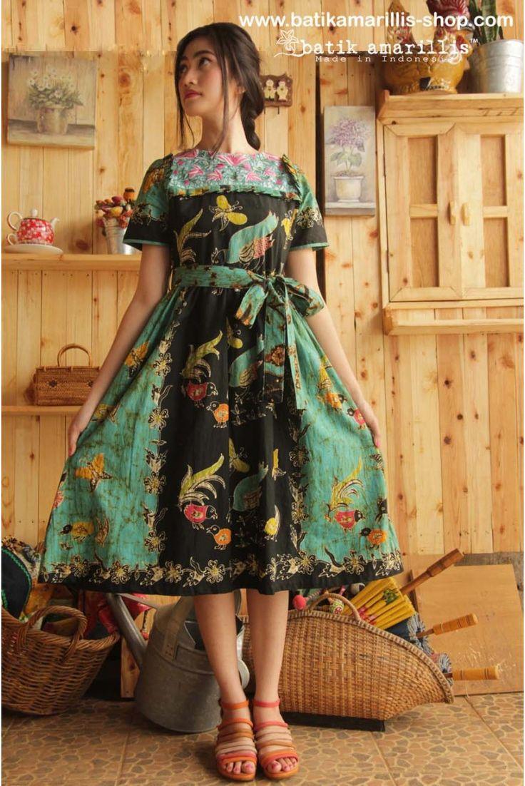 www.batikamarillis-shop.com Batik Amarillis's Innocencia dress ......with ruffled at chest, softly pleated skirt, it is truly a sweetheart dress.. Made of batik wonogiren & Tasikmalaya krancang embroidery -Indonesia