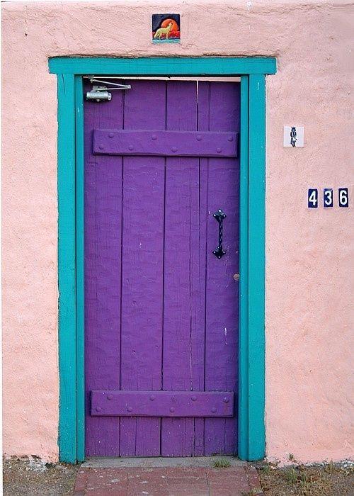 Purple by PeterJames, bright purple door with turquoise trim, salmon pink wall, pantone ultra violet, bright purple, dark purple